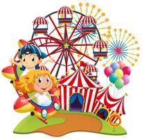 Circusscène met kinderen op de rit vector