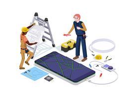 De mensen in de vorm van de arbeiders van de mobiele telefoonreparatiewerkplaats doen het schermdiagnostiek en ontwerp van de vervangings 3d isometrische vectorillustratie
