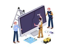 De mensen in de arbeiders van de vormreparatiewerkplaats doen het schermdiagnostiek en ontwerp van de vervangings 3d isometrische vectorillustratie