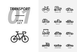 Icon pack voor transport en voertuigen. Overzicht stijl.