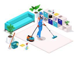 Vrouw gekleed in uniform reinigt en stofzuigers, wast de vloer in het huis en reinigt.