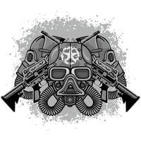 industrieel embleem met schedel vector