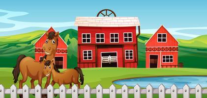Paard bij landbouwgrondscène vector