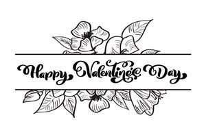 Kalligrafie zin Happy Valentine's Day met bloeit en harten vector