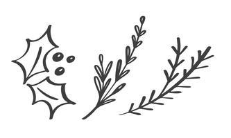 De decoratieve takelementen van Kerstmis ontwerpen bloemenbladeren in Skandinavische stijl. Vector handdraw illustratie voor de kaart van de Kerstmisgroet