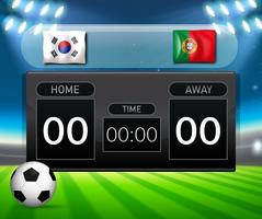 Voetbalscorebord zuid-korea en portugal vector