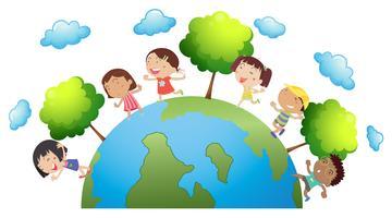 Gelukkige kinderen over de hele wereld vector