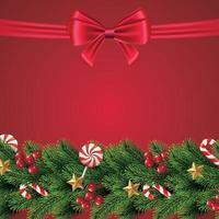 kerstmis en slinger en rand van realistische rood lint kerstboom takken versierd met bessen, sterren en kralen. vectorillustratie. vector