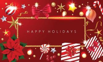 vakantie kerst achtergrond met glanzende ster gemaakt van gouden confetti geschenkdozen en lichtslingers. vector