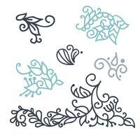 Swirly scandinavische krul van de Kerstmislijn op witte achtergrond wordt geïsoleerd die. Vector bloeien vintage voor wenskaarten. Inzameling van filigraan de illustratie van de het elementendecoratie van het kaderontwerp
