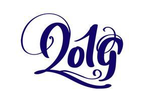 Handschrift bloeien vector kalligrafie tekst 2019. hand getrokken Nieuwjaar en Kerstmis belettering nummer 2019. Illustratie voor wenskaart, uitnodiging, vakantie tag, geïsoleerd op witte achtergrond