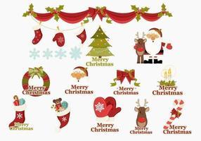 Vrolijke Kerstmis Pictogrammen Vector Pack