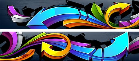 Twee horizontale graffitibanners vector