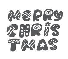 Vrolijke Kerstmis grijze uitstekende Skandinavische van letters voorziende vectortekst. Voor kunstsjabloon ontwerp lijstpagina, mockup brochure stijl, banner idee omslag, boekje print flyer, poster