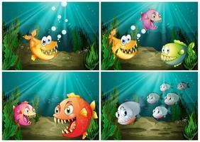 Vissen die onder de oceaan zwemmen vector