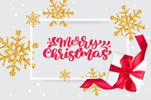 Merry Christmas rode vintage kalligrafie belettering vector tekst op wenskaart met gouden sneeuwvlokken en geschenkdoos. Voor de lijstpagina met tekeningen van de kunstsjabloon, mockup-brochure
