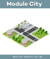 Bovenaanzicht van het stadsdeel landschap isometrische 3D-projectie vector