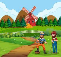 Boer op landbouwgrond scène
