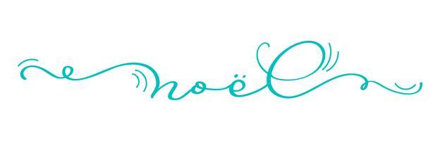 Torquoise Noel vintage kalligrafie belettering vectordietekst op witte achtergrond wordt geïsoleerd. Voor vakantie kunstontwerp, mockup brochure-stijl