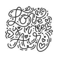Vector monoline kalligrafie zin Liefde is in de lucht. Valentijnsdag Hand getrokken belettering. Heart Holiday sketch doodle Ontwerp valentijn kaart. liefdes decor voor web, bruiloft en print. Geïsoleerde illustratie