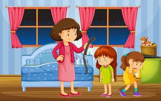 Meisjes worden gestraft door moeder in de slaapkamer