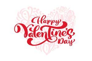 """Kalligrafie zin """"Happy Valentine's Day"""" met hart achter vector"""