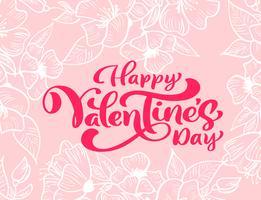 """Kalligrafie zin """"Happy Valentine's Day"""" met bloeit en harten vector"""