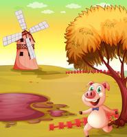 Een varken dat bij de varkensstal loopt