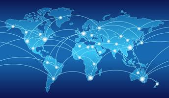 Naadloze kaart van het wereldwijde netwerksysteem. vector