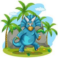 Blauwe rubeosaurus die zich op gras bevindt