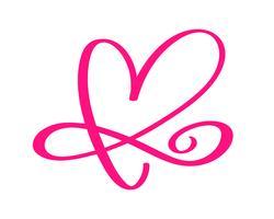 Rode vintage Vector Valentijnsdag Hand getekende kalligrafische twee harten. Kalligrafie belettering illustratie. Vakantie ontwerp element valentine. Icoon liefdes decor voor web, bruiloft en print. Geïsoleerd