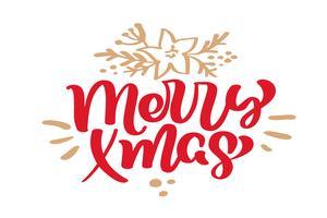 Merry Xmas Christmas vintage kalligrafie belettering vectortekst met de wintertekening Skandinavische bloeien decor. Voor kunstontwerp, mockup-brochurestijl, banner-ideedekking, flyer voor boekjesafdrukken, poster
