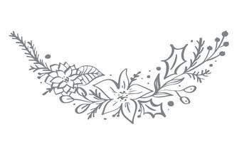 Ontwerp van de hoekelementen van Kerstmis het decoratieve met bloemenbladeren en takken in Skandinavische stijl. Vector handdraw illustratie voor de kaart van de Kerstmisgroet