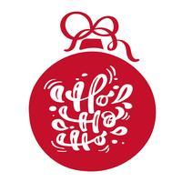 Ho ho ho Kerst vintage kalligrafie belettering vector tekst met rode winter tekening Scandinavische bel hoe frame decor. Voor kunstontwerp, mockup-brochurestijl, banner-ideedekking, flyer voor boekjesafdrukken, poster