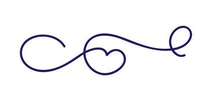 Monoline kalligrafie Skandinavische folk gedijen vector scheidingslijn frame. Ontwerpelement voor bruiloft en Valentijnsdag, verjaardag wenskaart