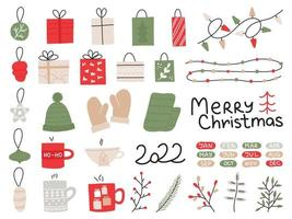 nieuwjaar handgetekende set. veel elementen kerstbal, cadeaus, slinger, kopjes, takken versieren vector