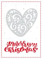 Scandinavische de groetkaart van Kerstmis met vectorhart. Merry Christmas kalligrafie belettering tekst. Hand getrokken illustratie geïsoleerde objecten