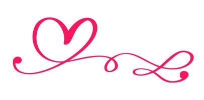 Red Vector Valentines Day Hand getrokken kalligrafische hart. Vakantie ontwerp element. Icoon liefdes decor voor web, bruiloft en print. Geïsoleerde kalligrafie belettering illustratie