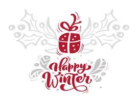De rode gelukkige de winterkalligrafie die van Kerstmis vectortekst met Kerstmiselementen van letters voorzien in Skandinavische stijl. Creatieve typografie voor de kaart van de de groetkaart van de vakantie