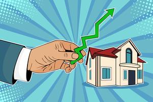 Stijgende huizenprijzen. De mens houdt groene pijl in zijn hand op huis tegen. Beeldverhaal grappige vectorillustratie in pop-art retro stijl.