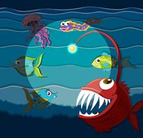 Oceaanscène met zeemonsters vector