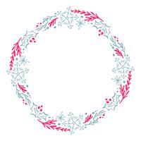 Kerstmis Hand getrokken krans rode en blauwe bloemen Winter ontwerpelementen geïsoleerd op een witte achtergrond voor retro design bloeien. Vector kalligrafie en belettering illustratie