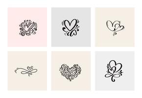 Set van zes vintage Vector Valentijnsdag