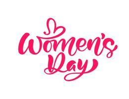 Pink Calligraphy phrase Gelukkige Vrouwendag. Vector Hand getrokken belettering. Geïsoleerde vrouw illustratie. Voor vakantie schets doodle ontwerp kaart