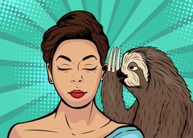 Luiaard fluistert tegen meisje. Beeldverhaal grappige vectorillustratie in pop-art retro stijl. vector