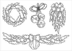 zwart-wit set grafische vector handgetekende kerst elementen in doodle stijl. kerstkrans, bellen, slingers met strikken.