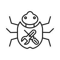 Bug vaststelling SEO lijn pictogram