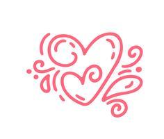 Paar monoline Red Vector Valentines Day Hand getekende kalligrafische twee harten. Vakantie ontwerp element valentine. Icoon liefdes decor voor web, bruiloft en print. Geïsoleerde kalligrafie belettering illustratie
