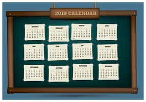 2019 Afdrukbare kalender op een schoolbord