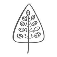 Kerstboom vector pictogram silhouet. Eenvoudig contoursymbool. Geïsoleerd op wit web teken kit gestileerde spar. Handdraw scandinavische cartoon afbeelding
